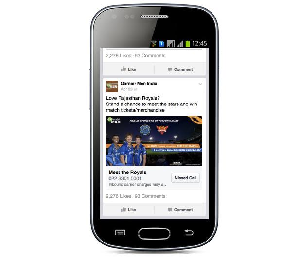 Mobile ads-missed calls