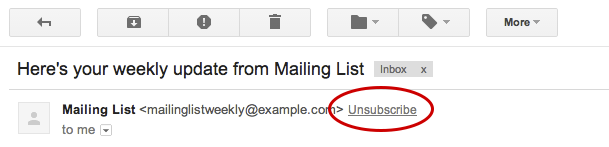 Unsubscribe button- Gmail