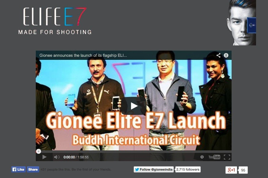 Featuring Our Work: Social Media Campaign for Gionee Elife E7 launch in India- #MadeForShooting