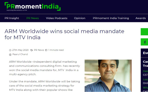 ARM Worldwide wins social media mandate for MTV India
