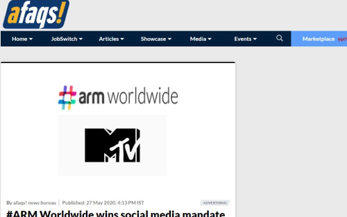 #ARM Worldwide wins social media mandate for MTV India